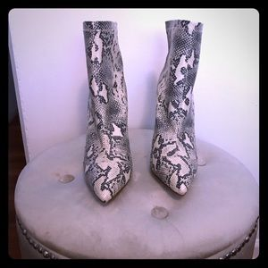 Sock style snake print bootie